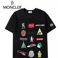 Moncler Summer New Fashion Pattern Print Women Men Top T-Shirt Black