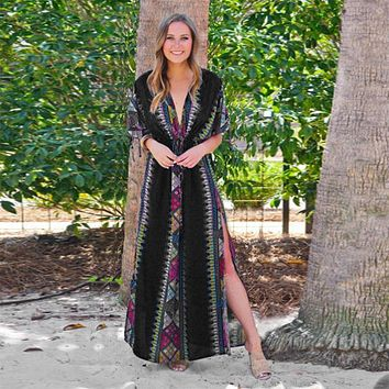 Black Indie Folk Turkey Kaftan Beach Dress Sexy V-Back Plunging Neck Half Sleeve Side Split Plus Size Women Summer Dress N645