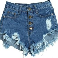 Juice Action Women's Slim Fit High Waisted Distressed Ripped Denim Shorts Blue