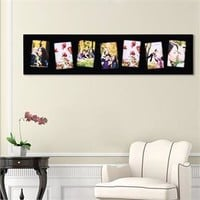 """Adeco PF9109 7 Openings 4""""x6"""" Picture Frame - Wood Photo Collage Decoration for Wall Hanging - Black"""