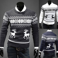 Fall New Style Men Slim Deer Print Sweater