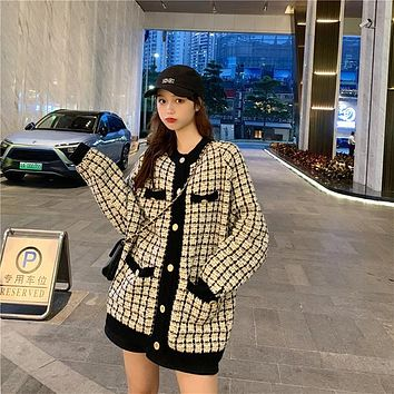 Sweater Coat Retro Shirt Check Long Sleeve Single Breasted Plaid Loose Knit Cardigan Tide Ladies