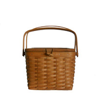 Vintage Longaberger Basket Handwoven Square Picnic Style with Lid and Two Handles