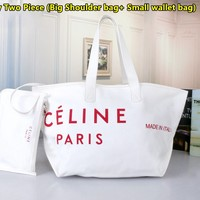 Celine fashion casual large capacity canvas shoulder bag shopping bag