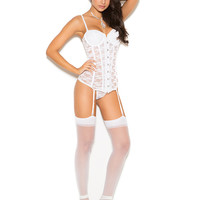 Lace bustier set with underwire cups.