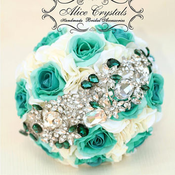Brooch Bouquet. Ivory and Emerald, teal. Big Silver Emerald brooch.
