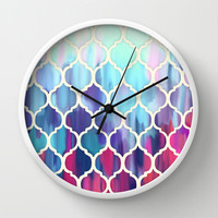 Moroccan Meltdown - pink, purple & aqua painted tiles Wall Clock by Micklyn