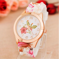 Hot Lady Girls Relogio Fashion Women Watches Reloj Rose Flower Print Silicone Floral Jelly Dress Watches