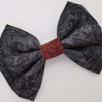 Gray Hair Bow with Red - Gothic Lolita Accessory - Womens Hairbow Punk - Victorian Gloom Inspired