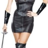 Women'S Sexy Costume: Warrior Of Darkness- Small *** Product Description: Stretch Knit Black Reptile Imprinted Dress With Glossy Stretch Vinyl Accents And Front Zipper. Includes Wrist Gauntlets And Elastic Jeweled Headpiece. Polyester. Adult Wome ***