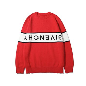 Givenchy fashion sells casual monogram-knit sweaters for couples Red