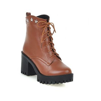 Studded Lace Up High Heels Ankle Boots Women Shoes New Arrival