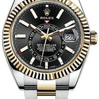 Rolex - Sky Dweller 42mm- Stainless Steel and Yellow Gold - Fluted Bezel