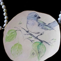 Broken China Necklace ~ Handpainted Oriental Bird Focal ~ Eco Friendly Upcycled Birthday Gift For Fashionista, Rainbow Warrior