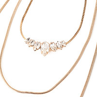FOREVER 21 Rhinestone Long Chain Necklace Gold/Clear One