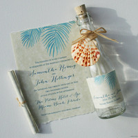 Bottle Wedding Invitations - Bottle Invitations - Palm Fronds Beach Wedding Invitations in a Bottle