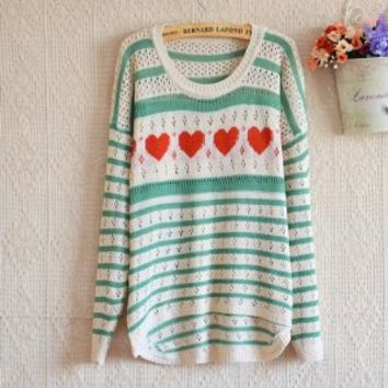 LOVE STRIPES HOLLOW THIN SWEATER PULLOVER green