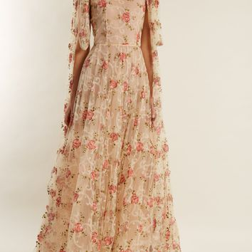 Scoop-neck floral-embroidered tulle gown | luisa beccaria | MATCHESFASHION.COM UK
