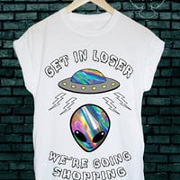 Mean girls alien 90s ink print ufo grunge unisex tshirt tee