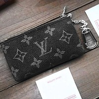Louis Vuitton LV Fashion Household Zipper Key Pouch Clutch Bag Coin Purse Wristlet Black Print