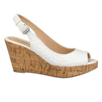 Raven lace sling wedge