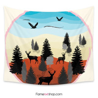 Evening forest landscape tonight Tapestry