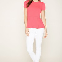 Stretch Knit Peplum Top | Forever 21 - 2000221538