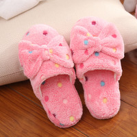 Women Home Slippers Ladies Soft Velvet House Big Bow Dot Slipper Comfortable Indoor Non-silp Slippers Casual Cotton Shoes O1868