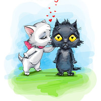 """Cats. Valentines. Printable greeting card, Instant Download 5 x 7"""" JPG file, I like you. Funny sketch drawing."""