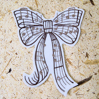 Bow and Notes Beautifuol Music - Iron On Embroidery Patch MTCoffinz - Choose Size / Color