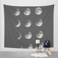 phases of the moon Wall Tapestry by Sara Eshak