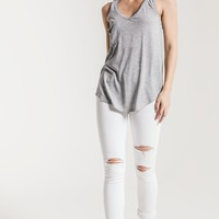 The Pocket Racer Tank- Heather Grey Burnout