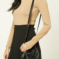 Mini Faux Leather Bucket Bag