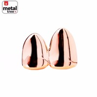 Jewelry Kay style Men's Hip Hop Fashion Double Cap 14k Rose Gold Plated Grillz Plain Two Teeth RG