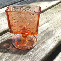 Peachy Pink Rose Depression Glass Cigarette / Business Card Holder / Small Bud Vase Pressed Glass