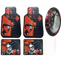 Licensed Official New Harley Quinn Car Truck Front Rear Rubber Floor Mats & Steering Wheel Cover