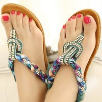 Cute Bbraided and Beaded Flat Sandals for Women Blue HNDD143 from topsales