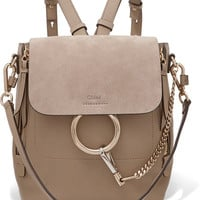 Chloé - Faye small textured-leather and suede backpack