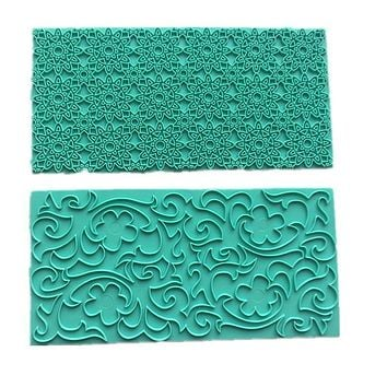 Texture 2PCS Mold Cake Chocolate Mold Plastic Printing Biscuits Cookies Cutter Embosser Fondant Gum Paste Cake Decoration Tool