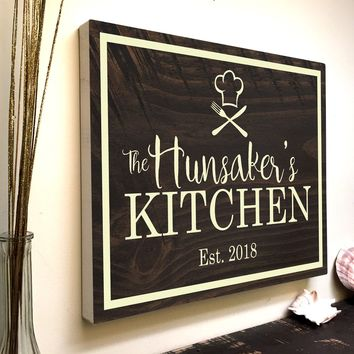 Custom Kitchen Wall Canvas Art with Your Last Name + Est. Year