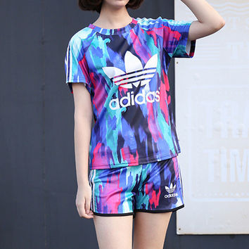 """""""Adidas"""" Fashion Casual Clover Letter Camouflage Print Short Sleeve Set Two-Piece Sportswear"""