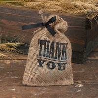 Thank You Burlap Favor Bag for Rustic Wedding
