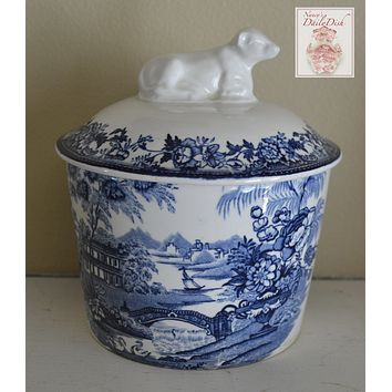 Blue Transferware Vintage Tonquin Covered  Butter Tub Dish w/ Cow Lid RARE