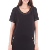 Black Shift Dress with Leather Look and Zip Details-Black-Medium - UK (10-12)