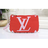 LV Sell Fashion Large Printed Coloured Small Wallet Female Handbag Red