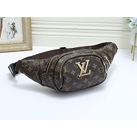 LV fashion hot selling men and women printed casual cross Fanny pack Coffee LV print