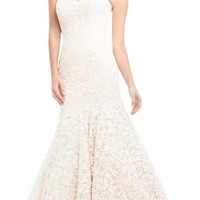 ZHUOLAN White Sweetheart Mermaid Gown in Lace Wedding Dress