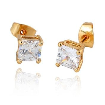 Square Zircon Earings Couples Design   gold plated white zircon
