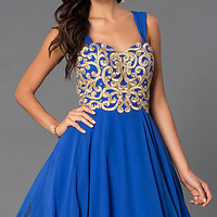 Short A-Line Dress 7296 with Removable Straps
