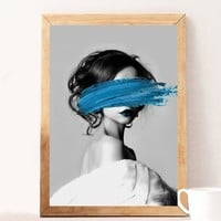 Fashion Blue Lady Nordic Poster And Prints Pop Wall Art Canvas Painting Wall Pictures For Living Room Girl Bedroom Home Decor